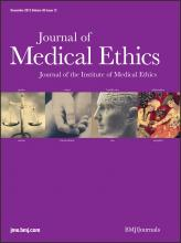 Journal of Medical Ethics: 38 (12)