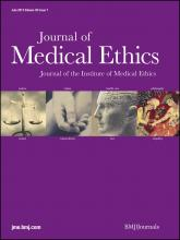 Journal of Medical Ethics: 38 (7)