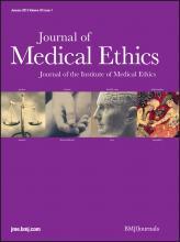 Journal of Medical Ethics: 39 (1)