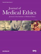 Journal of Medical Ethics: 39 (10)