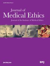Journal of Medical Ethics: 39 (7)