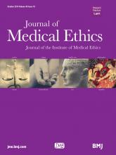 Journal of Medical Ethics: 40 (10)
