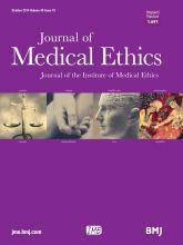 Journal of Medical Ethics: 40 (10)