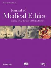 Journal of Medical Ethics: 40 (12)