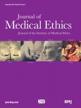 Journal of Medical Ethics: 40 (9)