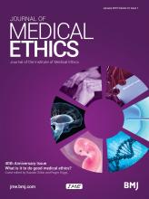 Journal of Medical Ethics: 41 (1)