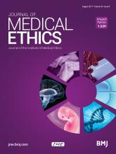 Journal of Medical Ethics: 43 (8)
